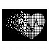 Heart Pulse Icon With Dissipated Effect On Black Background. White Particles Are Arranged Into Vecto poster