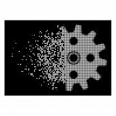 Cogwheel Icon With Dissipated Style On Black Background. White Particles Are Grouped Into Vector Dis poster
