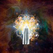 Surreal digital art. Figure in white cloak stands before bright light in colorful universe. 3D rende poster