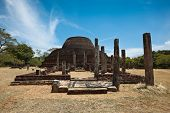 stock photo of vihara  - Ancient Buddhist dagoba  - JPG
