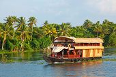 stock photo of houseboats  - Houseboat on Kerala backwaters - JPG