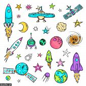 Space Doodles Set. Astronomy. Cosmic Sketches. Zodiac. Planets. Moon And Stars. Sun. Spaceship. Mete poster