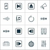 Multimedia Icons Set With Refresh, Equalizer, Previous Music And Other Tune List Elements. Isolated  poster
