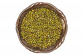 Lot Of Whole Dry Green Mung Beans In Old Iron Bowl Flatlay Isolated On White Background poster