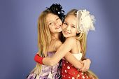 Family Fashion Model Sisters, Beauty. Children Girls In Dress, Family And Sisters. Friendship, Look, poster