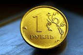 Obverse Of Coin One Russian Ruble, New Russian Coin - One Rouble, Russian Ruble On The Coin Backgrou poster
