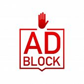 Red Label Ad Block On White Background. Vector Stock Illustration. poster