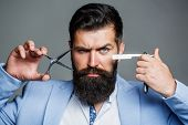 Beard Man, Bearded Male. Portrait Beard Man. Barber Scissors And Straight Razor, Barber Shop, Suit.  poster