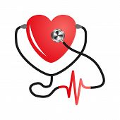 World Heart Day. Stethoscope Of Heart. Flat Vector On Isolated White Background. Medical Service Des poster