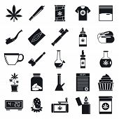 Medical Cannabis Icon Set. Simple Set Of Medical Cannabis Vector Icons For Web Design Isolated On Wh poster