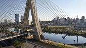 Famous Cable-stayed Bridge At Sao Paulo City. Brazil. Aerial View Of Octavio Frias De Oliveira Bridg poster