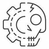 Gear Skull Icon. Outline Gear Skull Vector Icon For Web Design Isolated On White Background poster
