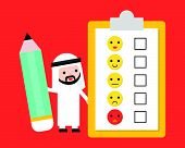 Cute Arab Businessman Holding Giant Pencil With Customer Feedback Survey, Business Template For Surv poster