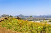 Bright Sky And Nature  At Viewpoint Of Mekong River Between Thailand And Laos In Countryside Thailan poster