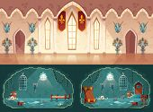 Vector Set Of Cartoon Game Backgrounds, Hall In Medieval Castle Or Ballroom With Gobelins, Knight Gu poster