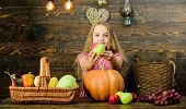 Celebrate Harvest Festival. Kid Girl Fresh Vegetables Harvest Rustic Style. Child Presenting Harvest poster