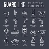 Coast Guard Day Illustration Vector Outline Icon Set. Guarding The Order Elements Concept poster