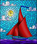 Illustration In Stained Glass Style With An Ship Sailing With Red Sails Against The Sea, Sun And Sky poster