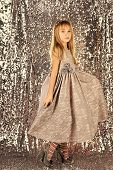 Fashion And Beauty, Little Princess. Fashion Model On Silver Background, Beauty. Look, Hairdresser,  poster