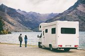 RV motorhome camper van road trip young people on New Zealand travel vacation adventure, Two tourist poster