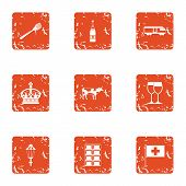 European Government Icons Set. Grunge Set Of 9 European Government Vector Icons For Web Isolated On  poster