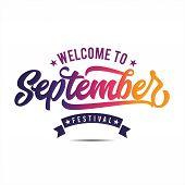 September Lettering Template,  September Icon, September Typography poster