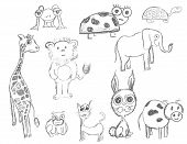 Vector Pencil Animals poster