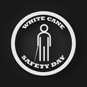 White Cane Safety Day People Icon With Stick As Blind And Disability Concept. Vector Illustration Ba poster