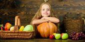 Child Girl Presenting Harvest Of Her Vegetable Garden On Wooden Background. Farm Market Fall Harvest poster