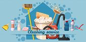 Cleaning Service Banner Horizontal Concept. Cartoon Illustration Of Cleaning Service Banner Horizont poster