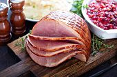 Holiday Glazed Sliced Ham On Dinner Table For Thanksgiving Or Christmas poster