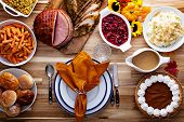 Thanksgiving Table With Roasted Turkey, Sliced Ham And Side Dishes poster