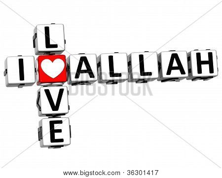 3D I Love Allah Crossword