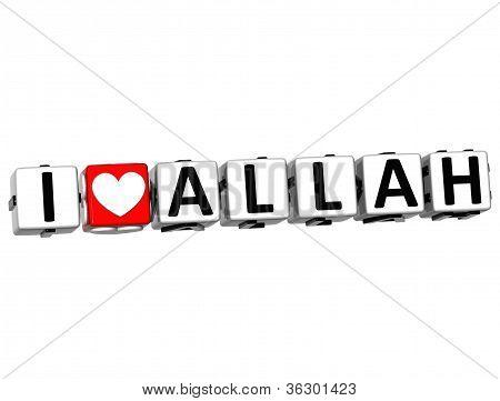 3D I Love Allah Button Click Here Block Text