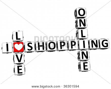 3D I Love Online Shopping Crossword