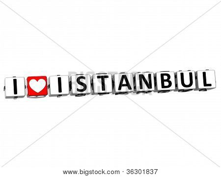3D I Love Istanbul Button Click Here Block Text