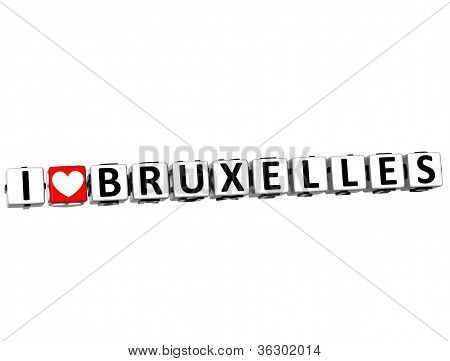 3D I Love Bruxelles Button Click Here Block Text
