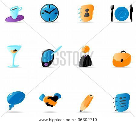 Bright business contacts and meeting icons