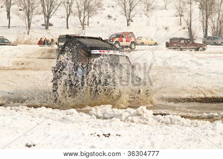 Almaty, Kazakhstan - February 11, 2012. Off-road Racing Jeeps,  Festival