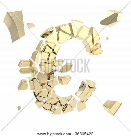 Euro Symbol Breaking Into Small Shiny Golden Glossy Pieces