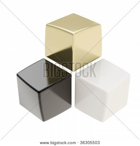 Abstract Composition Of Black Golden And White Cubes