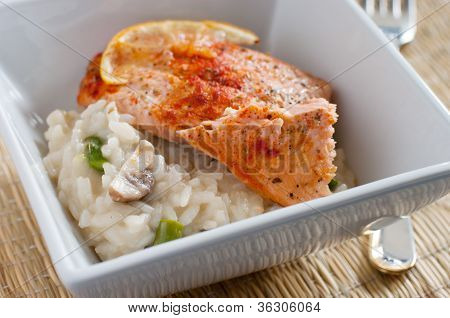 baked trout with mushroom risotto
