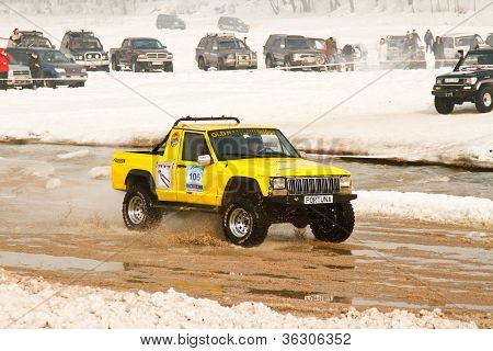 Almaty, Kazakhstan - February 11, 2012. Off-road Racing Jeeps,  Festival, Devoted To 20Th Anniversar