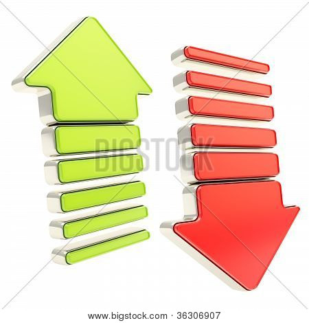Red Down And Green Up Arrows Isolated On White