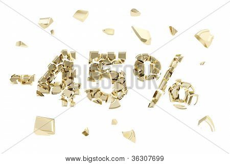 Minus Forty Five Percent Discount Emblem Composition Isolated