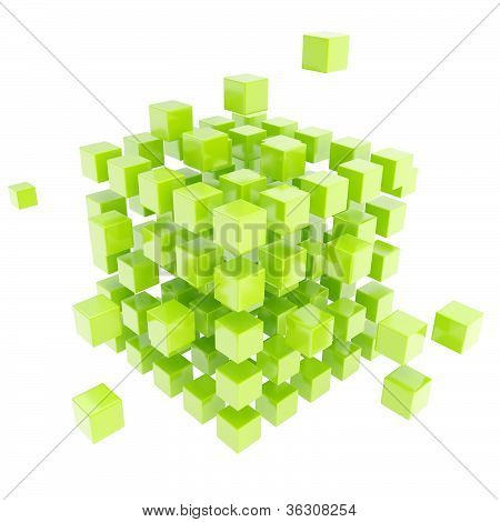Abstract Backdrop Made Of Green Cube Composition