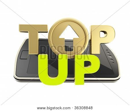 Top-up Emblem Icon Over Smart Mobile Phone Concept