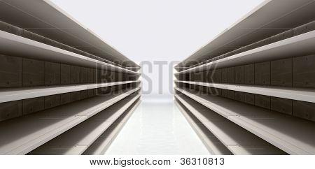 Nave comercial con estantes vacíos
