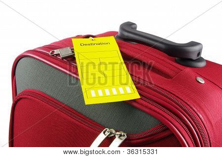 red travel case and yellow label