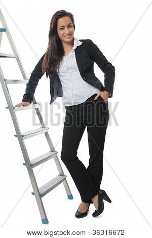 Asian Businesswoman Presenting Metal Ladder